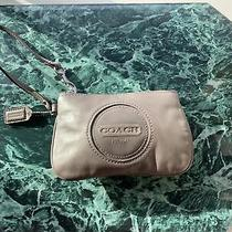 Coach Leather Small Wristlet Gray  Wallet Clutch Zip Card Coin Pouch  Photo