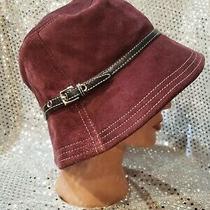 Coach Leather Suede Burgundy Unisex Buckle Hat Photo