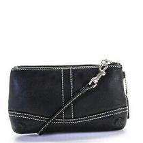 Coach Leather Top Stitch Mini Wristlet Black Photo