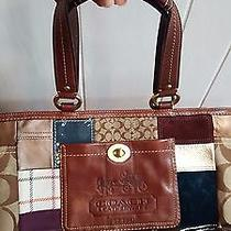 Coach Leather Tote/arm Bag Special Edition Holiday Patchwork With Dust Bag Nice Photo