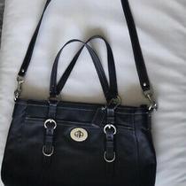 Coach Leather Tote Messenger Crossbody Black Satchel Laptop Bag Photo