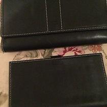 Coach Leather Trifold Black Wallet Plus Check Book Cover  Photo