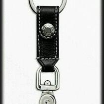 Coach Leather Trigger Snap Key Ring Fob Silver/black 92354 Nwt  Photo