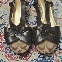 Coach Leather Wedges 7.5 Brown Photo