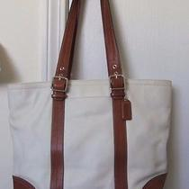 Coach Leather White and Whiskey Brown Leather Book Bag Tote Shopper F11202 Euc Photo