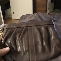 Coach Leather Wristlet Clutch Handbag Pleated Purse Brown With Tan Lining Photo