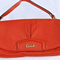 Coach Leather Wristlet Purse Orange Versatile and Functional Guc Great for Fall Photo