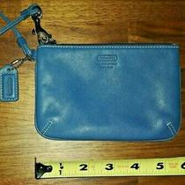 Coach Leather Wristlet Ziptop With Coach Logo Lining- Blue Photo