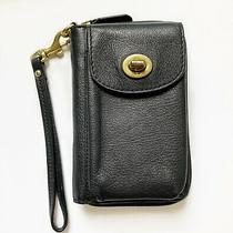 Coach Leather Zip Around Wallet Wristlet F54007 Black Classic Styling Photo