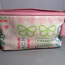 Coach Leatherware Butterfly Hearts Fabric Plastic Makeup Bag Euc Photo