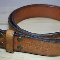 Coach Leatherware Men's Tan Pebbled Leather Brass Square Buckle Belt Size 38  Photo