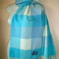 Coach Leatherware Winter Scarf Shawl Plaid Turquoise Blue White Unisex 64 X 11