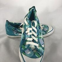 Coach Leatherware Womens Blue and Green Flat Barrett Sneakers Lace Up Sz 8  Photo