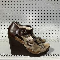 Coach Leda Wedge Womens Strappy Slingback Sandals Size 8.5 B Brown Signature Photo