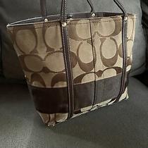 Coach Legacy 11098 Vintage Signature C Stripe Brown Logo Medium Tote Bag Coa Photo