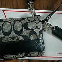 Coach Legacy Black Jacquard Patent Leather Silver Hardware Small Wristlet & Box Photo