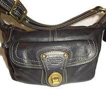 Coach Legacy  Black Vachetta Leather Turn Lock Top Handle Pouch 40214 Photo