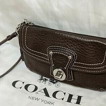 Coach Legacy Brown Pebble Soft Leather Zip Flap Turnlock Clutch Wristlet Nwot Photo