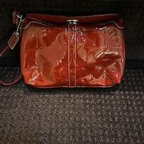 Coach Legacy C Turn Lock Red Patent Leather Wristlet Wallet Clutch Case Purse Photo