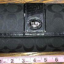 Coach Legacy Checkbook Wallet Black & Silver Photo