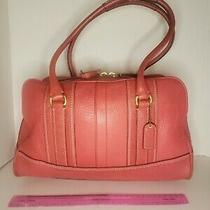 Coach Legacy Collection Handbag Salmon Coral Genuine Cowhide Leather Large Euc Photo