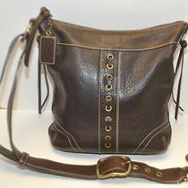 Coach Legacy Drawstring 10399 Brown Glove Pebble Leather Crossbody Shoulder Bag  Photo