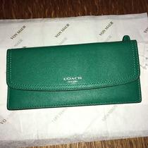 Coach Legacy Emerald Green Soft Leather Wallet Photo