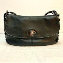 Coach Legacy Hobo Purse Black Leather Shoulder Bag Turnlock Closure Fabric Lined Photo