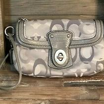 Coach Legacy Signature Gray/silver Turn Lock Flap Fabric Wristlet Photo