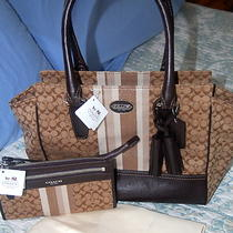 Coach Legacy Signature Stripe Carryall 19915 Khaki Plus 48028 Zippy Nwt Photo
