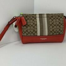 Coach Legacy Signature Stripe Wristlet Brown Canvas Red Leather B12 Photo