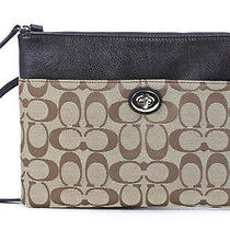 Coach Legacy Signature Turnlock Crossbody Khaki Mahogany Jacquard Messenger New Photo