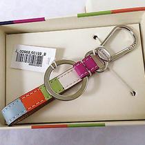 Coach Legacy Stripe Multicolor Loop Keychain Key Ring  Photo