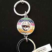 Coach Legacy Stripe Turn Lock Valet Key Chain Key Ring Multicolor F92529 Nwt Photo