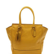 Coach Legacy Tanner Tote Bag Leather Yellow With Tassel Charm Photo