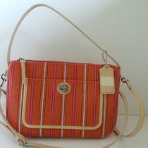 Coach Legacy Weekend Ticking Stripe Pvc Crossbody Bag 23468 Nwt Pink Lime  Photo