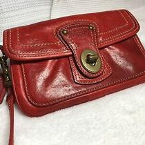 Coach Legacy Wristlet Red Leather Turnlock With Tags Excellent Condition Photo
