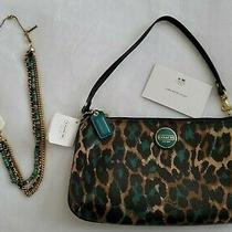 Coach Leopard Wristlet Nwt 98.00  Matching Kenneth Cole Necklace  Photo