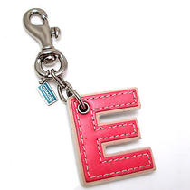 Coach Letter E Blue Pink Key Ring Chain Charm Bag Pink Green Alphabet Initial Photo