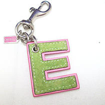 Coach Letter E Green Pink Key Ring Chain Charm Bag Pink Green Alphabet Initial Photo