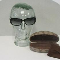 Coach Lexi Black White Pinstripe Trim Sunglasses in Case Womens S493 Photo