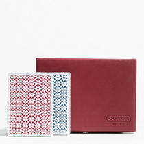 Coach Lexington Leather Boxed Card Set Style F61886 Sv/red Photo
