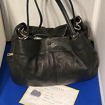 Coach - Lexy Shoulder Bag - Large Black Leather Tote - Purse With Coa Photo
