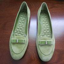 Coach Lidia Bow Green Loafer Flats With Rhinestone Size 9 Nwot Photo
