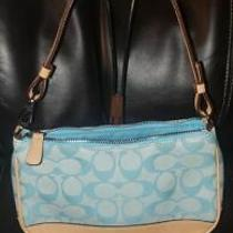 Coach Light Blue and Leather Signature C Small Wristlet Bag Purse Authentic   Photo