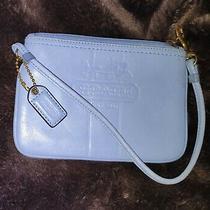 Coach Light Blue Leather Vintage Logo Plaid Lined Clutch Wristlet Wallet Photo