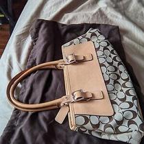 Coach Light Brown Carryall Satchel 6366 Jacquard Leather Signature Handbag Bag Photo