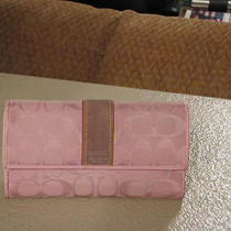 Coach Light Pink Signature C Checkbook Wallet Photo