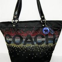 Coach Lightweight Black and Glowing Rhinestone Shoulder Tote  Nwt  358 Photo