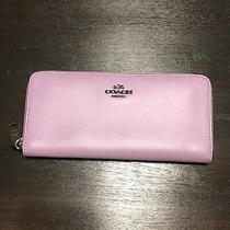 Coach Lilac Smooth Leather Slim Accordion Zip Around Wallet 53707 Photo